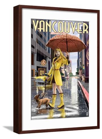Rain Girl Pinup - Vancouver, BC-Lantern Press-Framed Art Print