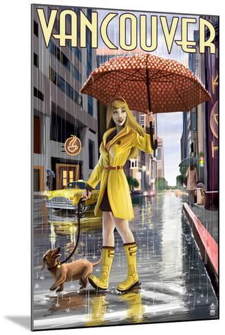 Rain Girl Pinup - Vancouver, BC-Lantern Press-Mounted Art Print