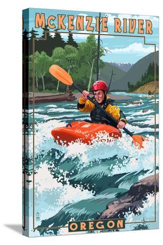 McKenzie River, Oregon - Kayak Scene-Lantern Press-Stretched Canvas Print