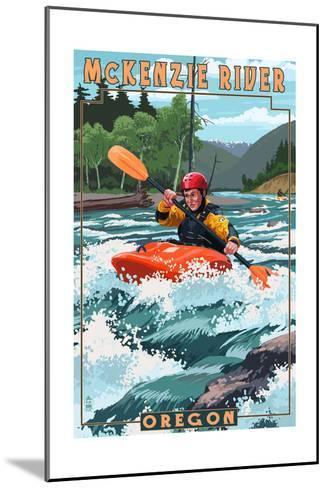 McKenzie River, Oregon - Kayak Scene-Lantern Press-Mounted Art Print