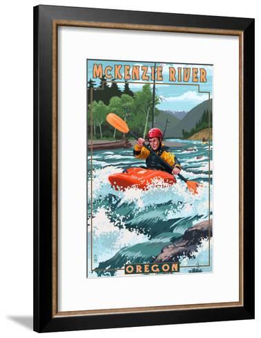 McKenzie River, Oregon - Kayak Scene-Lantern Press-Framed Art Print