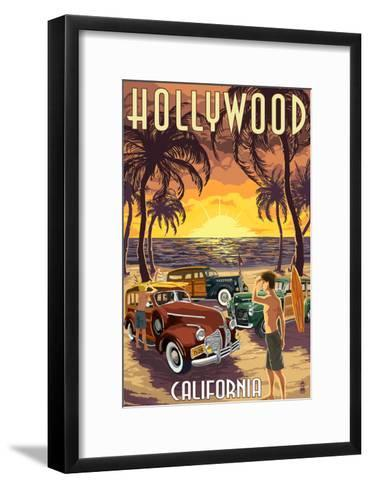 Hollywood, California - Woodies on the Beach-Lantern Press-Framed Art Print