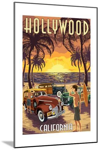Hollywood, California - Woodies on the Beach-Lantern Press-Mounted Art Print