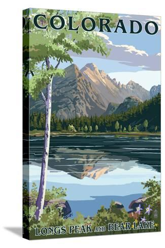 Colorado - Longs Peak and Bear Lake Summer-Lantern Press-Stretched Canvas Print