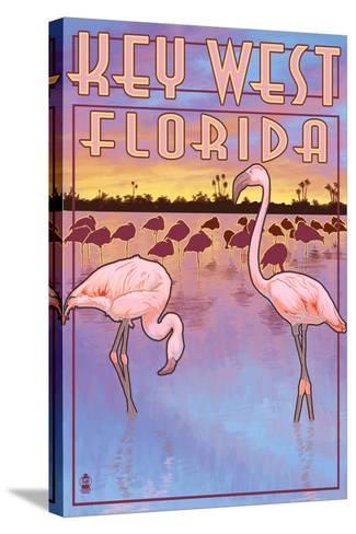 Key West, Florida - Flamingos-Lantern Press-Stretched Canvas Print