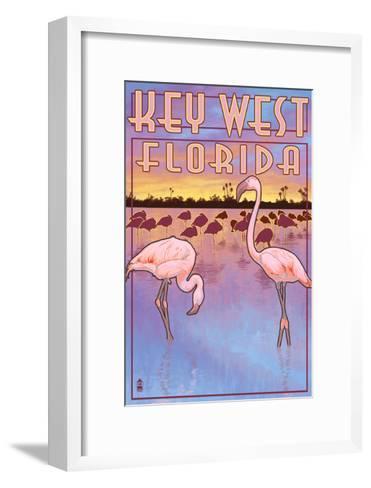 Key West, Florida - Flamingos-Lantern Press-Framed Art Print