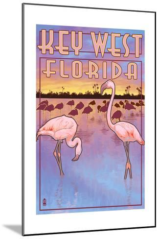 Key West, Florida - Flamingos-Lantern Press-Mounted Art Print