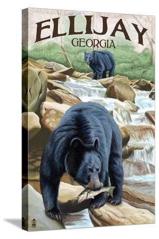 Ellijay, Georgia - Black Bears Fishing-Lantern Press-Stretched Canvas Print
