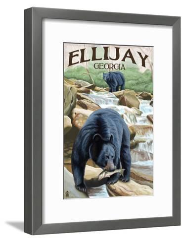 Ellijay, Georgia - Black Bears Fishing-Lantern Press-Framed Art Print