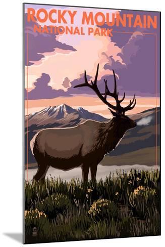 Rocky Mountain National Park - Elk and Sunset-Lantern Press-Mounted Art Print