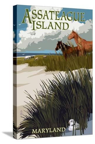 Assateague Island, Maryland - Horses and Dunes-Lantern Press-Stretched Canvas Print