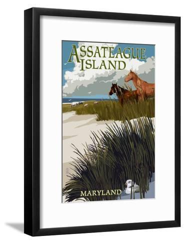 Assateague Island, Maryland - Horses and Dunes-Lantern Press-Framed Art Print