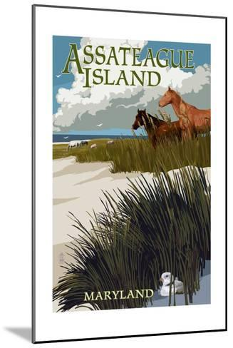 Assateague Island, Maryland - Horses and Dunes-Lantern Press-Mounted Art Print