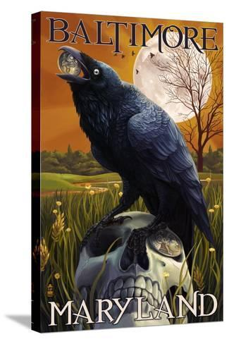 Baltimore, Maryland - Raven and Skull-Lantern Press-Stretched Canvas Print