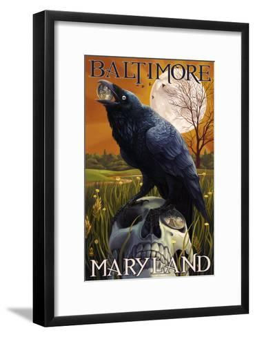 Baltimore, Maryland - Raven and Skull-Lantern Press-Framed Art Print