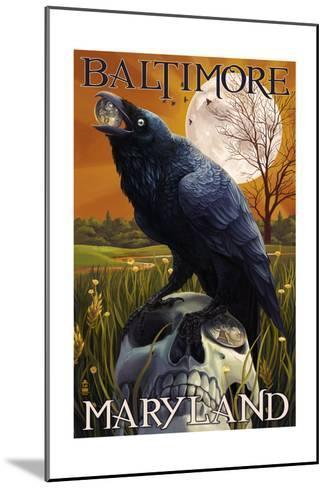 Baltimore, Maryland - Raven and Skull-Lantern Press-Mounted Art Print