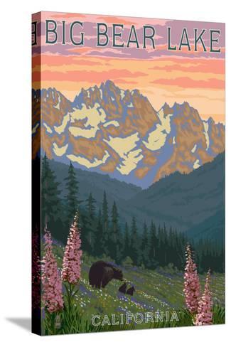 Big Bear Lake, California - Bears and Spring Flowers-Lantern Press-Stretched Canvas Print
