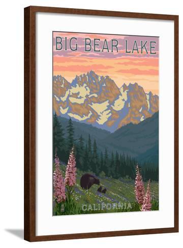 Big Bear Lake, California - Bears and Spring Flowers-Lantern Press-Framed Art Print