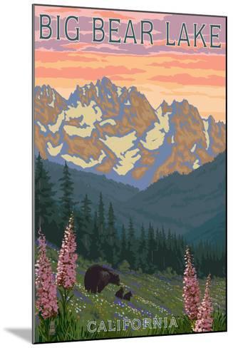 Big Bear Lake, California - Bears and Spring Flowers-Lantern Press-Mounted Art Print