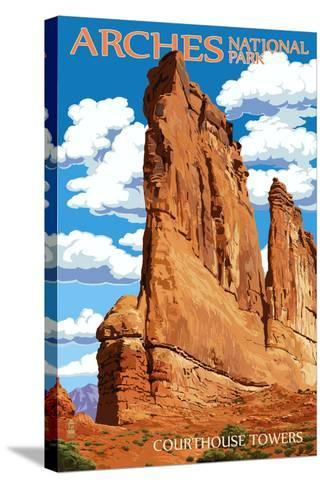 Arches National Park, Utah - Courthouse Towers-Lantern Press-Stretched Canvas Print