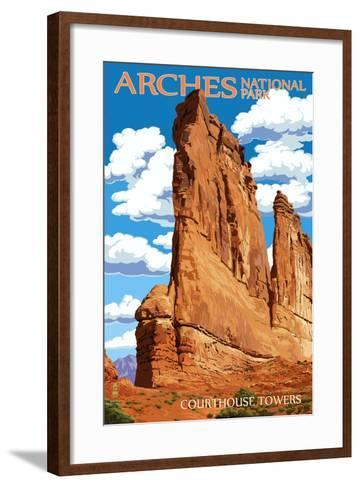 Arches National Park, Utah - Courthouse Towers-Lantern Press-Framed Art Print