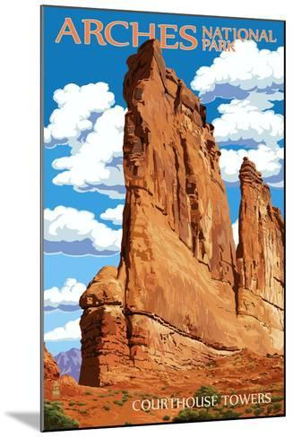 Arches National Park, Utah - Courthouse Towers-Lantern Press-Mounted Art Print