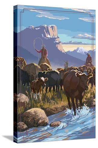 Cowboy Cattle Drive Scene-Lantern Press-Stretched Canvas Print