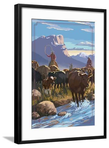 Cowboy Cattle Drive Scene-Lantern Press-Framed Art Print