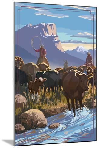 Cowboy Cattle Drive Scene-Lantern Press-Mounted Art Print