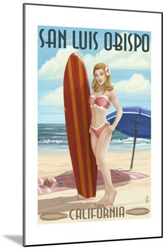San Luis Obispo, California - Surfer Pinup Girl-Lantern Press-Mounted Art Print