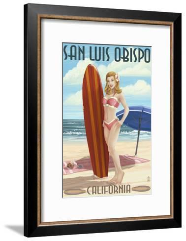 San Luis Obispo, California - Surfer Pinup Girl-Lantern Press-Framed Art Print