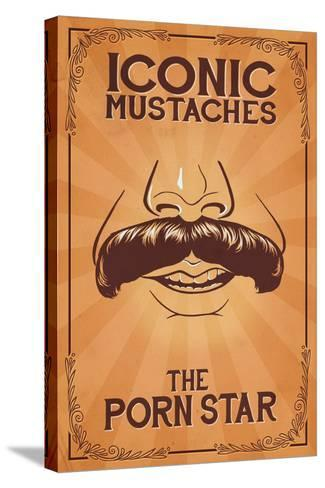 Iconic Mustaches - Porn Star-Lantern Press-Stretched Canvas Print