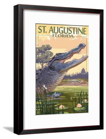 St. Augustine, Florida - Alligator Scene-Lantern Press-Framed Art Print