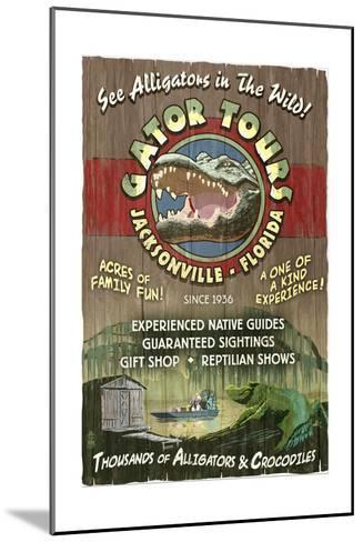 Jacksonville, Florida - Alligator Tours Vintage Sign-Lantern Press-Mounted Art Print