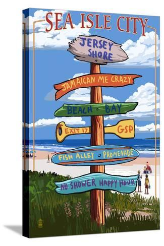 Sea Isle City, New Jersey - Destination Sign-Lantern Press-Stretched Canvas Print