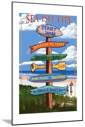 Sea Isle City, New Jersey - Destination Sign-Lantern Press-Mounted Art Print