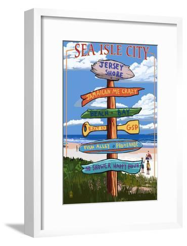 Sea Isle City, New Jersey - Destination Sign-Lantern Press-Framed Art Print