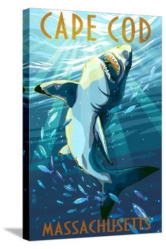 Cape Cod, Massachusetts - Great White Shark-Lantern Press-Stretched Canvas Print