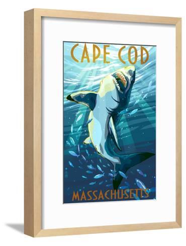 Cape Cod, Massachusetts - Great White Shark-Lantern Press-Framed Art Print