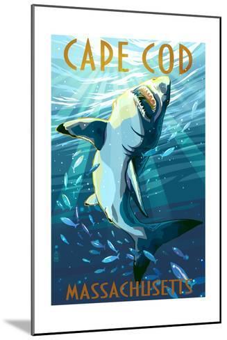 Cape Cod, Massachusetts - Great White Shark-Lantern Press-Mounted Art Print