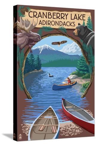 Cranberry Lake, New York - Adirondacks Canoe Scene-Lantern Press-Stretched Canvas Print