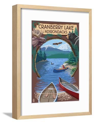 Cranberry Lake, New York - Adirondacks Canoe Scene-Lantern Press-Framed Art Print