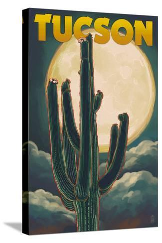 Tucson, Arizona Cactus and Full Moon-Lantern Press-Stretched Canvas Print