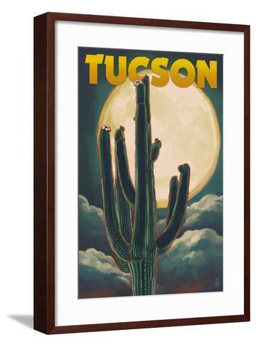 Tucson, Arizona Cactus and Full Moon-Lantern Press-Framed Art Print