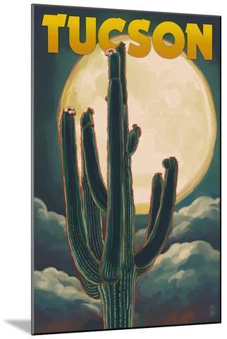 Tucson, Arizona Cactus and Full Moon-Lantern Press-Mounted Art Print