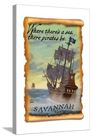 Savannah, Georgia - Pirate Ship-Lantern Press-Stretched Canvas Print