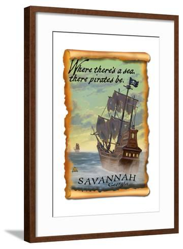 Savannah, Georgia - Pirate Ship-Lantern Press-Framed Art Print