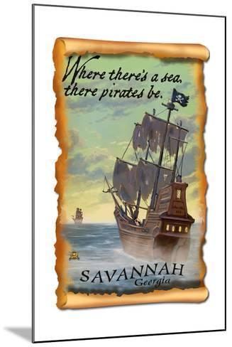 Savannah, Georgia - Pirate Ship-Lantern Press-Mounted Art Print