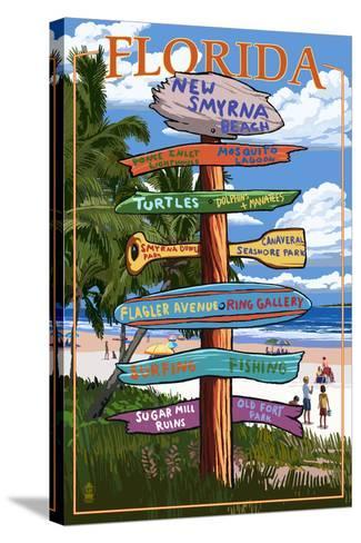 New Smyrna Beach, Florida - Destinations Signpost-Lantern Press-Stretched Canvas Print
