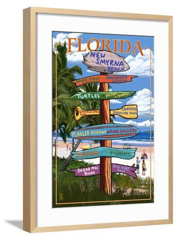 New Smyrna Beach, Florida - Destinations Signpost-Lantern Press-Framed Art Print